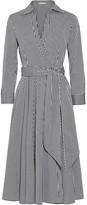 Michael Kors Gingham Stretch Cotton-blend Poplin Wrap Dress - Black
