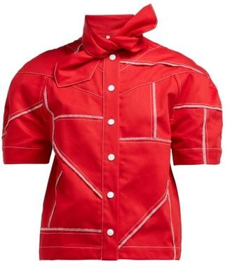 Symonds Pearmain - Tie-neck Denim Shirt - Red