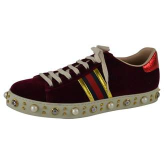 Gucci Ace Burgundy Velvet Trainers