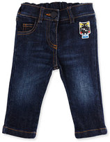 Fendi Stretch Denim Monster Jeans, Blue, Size 12-24 Months