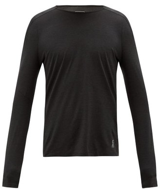 On Long-sleeved Mesh And Technical-jersey T-shirt - Black