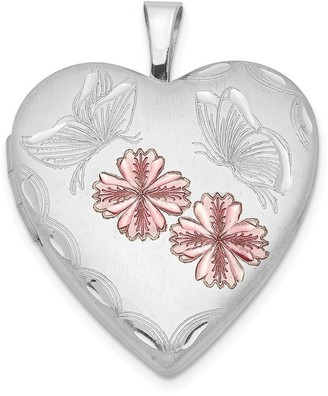 Sterling Silver Rhodium-plated Enameled Flowers Butterfly Heart Locket with 18-inch Cable Chain By Versil