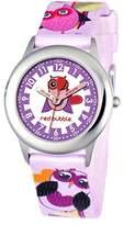 Red Bubble - W002077 - girl's quartz educational watch - white dial - multicoloured fabric strap