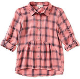 Copper Key Big Girls 7-16 3/4 Sleeve Plaid Peplum Top