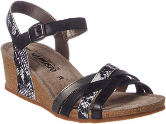 Mephisto Mado Snake-Embossed Leather Wedge Sandal