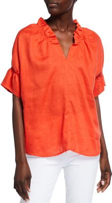 Finley Ruffle Collar & Sleeve Washed Linen Top