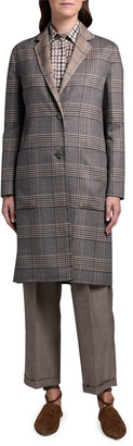 Agnona Reversible Plaid Knee-Length Coat