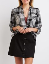 Charlotte Russe Plaid Button-Up Pocket Shirt