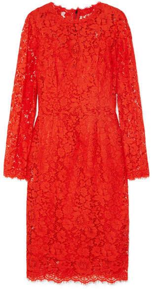 Dolce & Gabbana Guipure Lace Midi Dress - Orange
