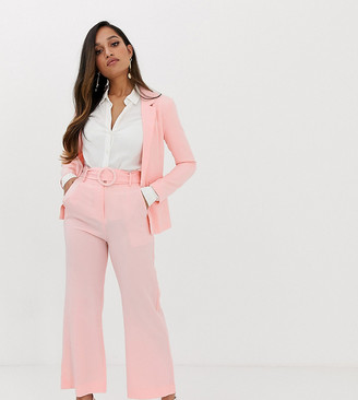Fashion Union Petite wide leg trousers with waist belt co-ord-Pink