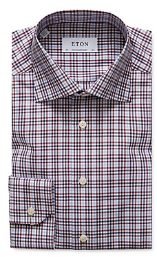 Eton Contemporary Fit Plaid Cotton Tencel Dress Shirt
