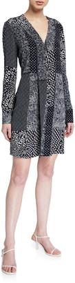 Diane von Furstenberg Reid Patchwork Long-Sleeve Dress