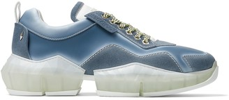 Jimmy Choo DIAMOND/M Denim Distressed Suede Trainers with Spray Details
