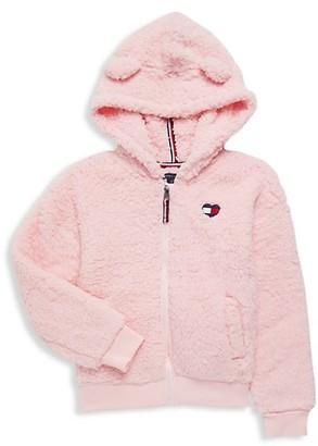 Tommy Hilfiger Little Girl's Fuzzy Flag Faux Fur Jacket