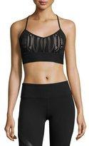 Alo Yoga Aria Lace Sports Bra, Black/Buff
