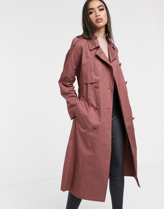 ASOS DESIGN cotton trench coat with self belt in dark rose