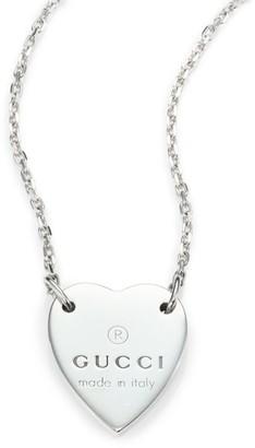 Gucci Sterling Silver Signature Heart Pendant Necklace