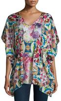 Johnny Was Short-Sleeve Floral-Print Silk Poncho, Plus Size