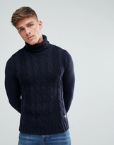 Solid Cable Knit Sweater With Roll Neck