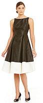 Adrianna Papell Petite Mikado Colorblock Tea-Length Dress