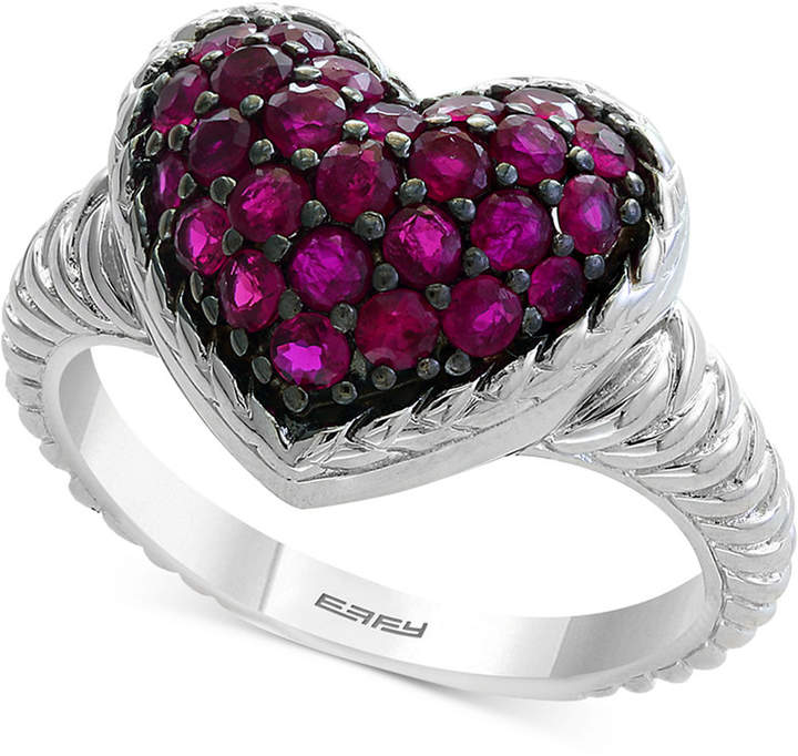 Effy Certified Ruby Cluster Heart Ring (1 ct. t.w.) in Sterling Silver