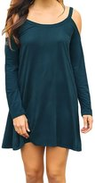 Kalin L Women Cute Strappy Long Sleeve Cold Shoulder Loose Flared T-shirt Tunic Dress