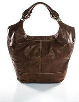 Melie Bianco Brown Leather Extra Large Tote Hobo Handbag