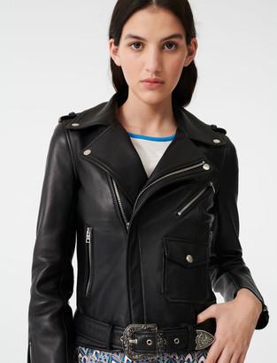 Maje Leather Western jacket with belt