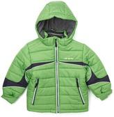 London Fog Green Color Block Logo Puffer Coat - Boys