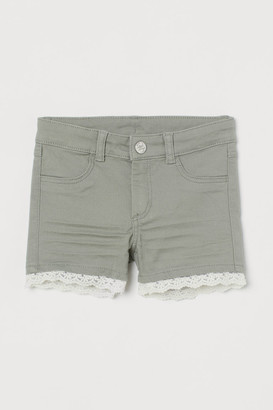 H&M Lace-trimmed Twill Shorts - Green