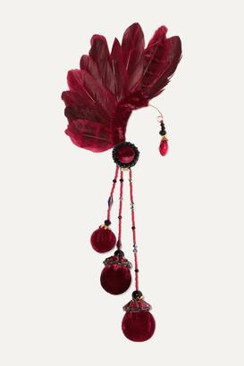 Ranjana Khan Bes Feather, Bead And Velvet Ear Cuff - Burgundy