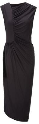 HUGO BOSS Jersey dress with gathering and asymmetric hem
