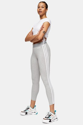 adidas Womens Grey Three Stripe Leggings By Grey