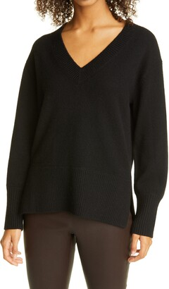 Vince Ribbed V-Neck Cashmere Tunic Sweater