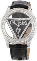 GUESS GUESS? Women's W10216L2 Black Leather Quartz Watch with Dial