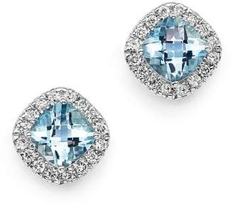 Bloomingdale's Aquamarine Cushion Cut and Diamond Stud Earrings in 14K White Gold - 100% Exclusive