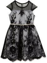 Rare Editions Embroidered Waist Lace Dress, Toddler & Little Girls (2T-6X)