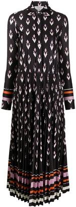 Valentino Geometric Print Pleated Shirt Dress