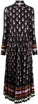 Valentino Geometric-Print Pleated Shirtdress