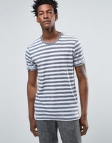 Selected Crew Neck Tshirt with Washed Stripe