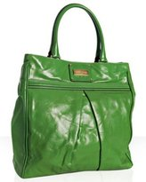 kelly green leather pleated 'Kristen' tall tote