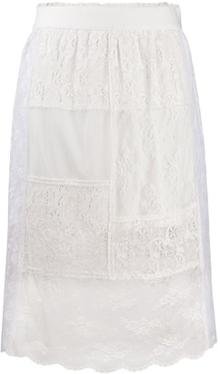 McQ Lace Panels Straight Skirt