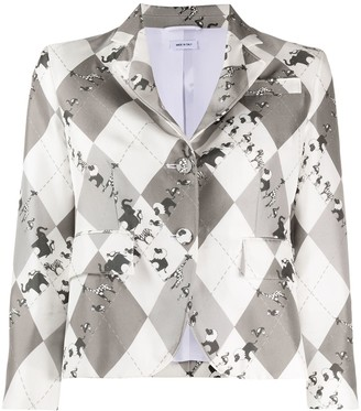 Thom Browne unconstructed classic SB S/C in classic argyle fun mix animal icon printed silk twill