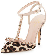Kate Spade Lydia Studded Calf-Hair Pump, Blush/Brown Leopard