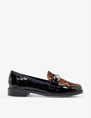 Dune Guys leopard-print patent leather snaffle loafers