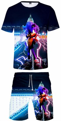 Silver Basic Kids Size Sonic T Shirt and Shorts Set for Boys Inspired by Video Game Sonic The Hedgehog Sonic Silver Shadow Cosplay 140
