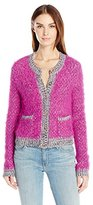 Juicy Couture Black Label Women's Super Cozy and Fluffy Multi Colored Cardigan with Large Gold Buttons