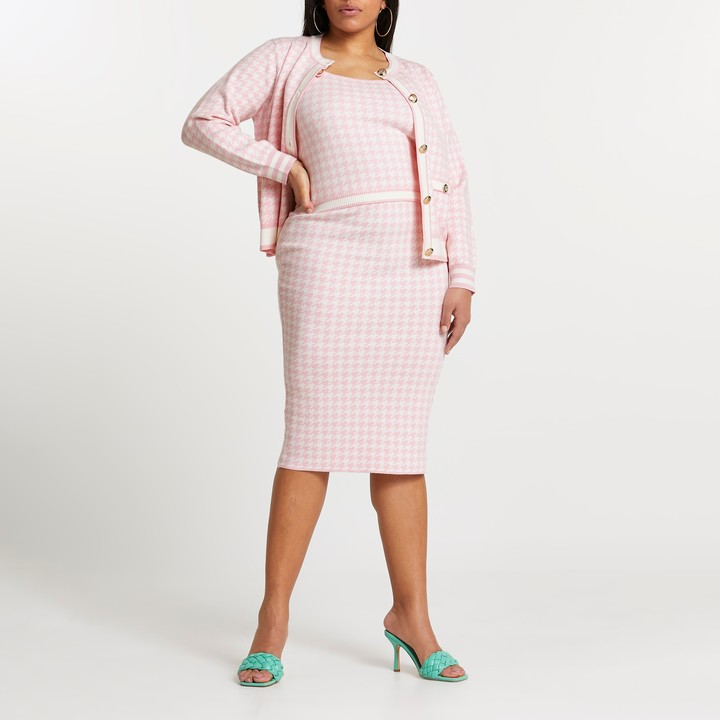 River Island Womens Plus Pink dogtooth knitted midi skirt