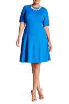 London Times Textured Short Sleeve Fit & Flare Dress (Plus Size)