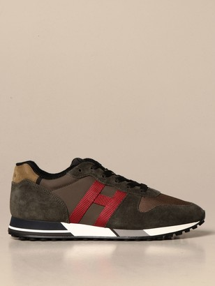 Hogan H383 Running Sneakers In Suede And Mesh With H Stitching